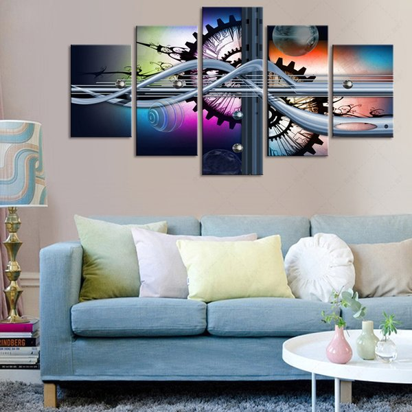 Acheter Art Abstrait Huile Modulaire Peinture 5 Panneau Peintures Sur Toile  Sans Cadre Pour Chambre À Coucher Décoration De La Maison Moderne Chambre  ...