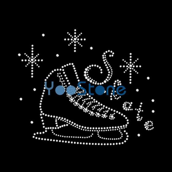 Hot Sales New Design Skate Rhinestone Iron On Transfers Hotfix Motif For T Shirts