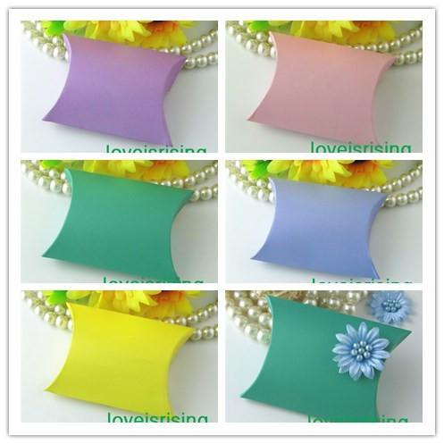 5 Renkler-100 Parça 9x7.1x2.4 cm Yastık Iyilik Kutusu, Hediye Kutusu Bebek Duş Düğün Iyilik Kutuları Malzemeleri