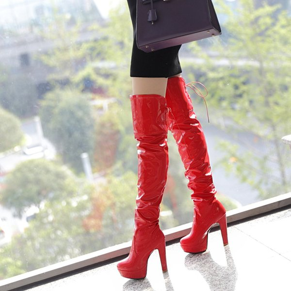 Fashion Women Sexy High Thick Heels Platform Round Toe Riding Boots Women Shoes Woman 33-43 Over The Knee Boots 2017