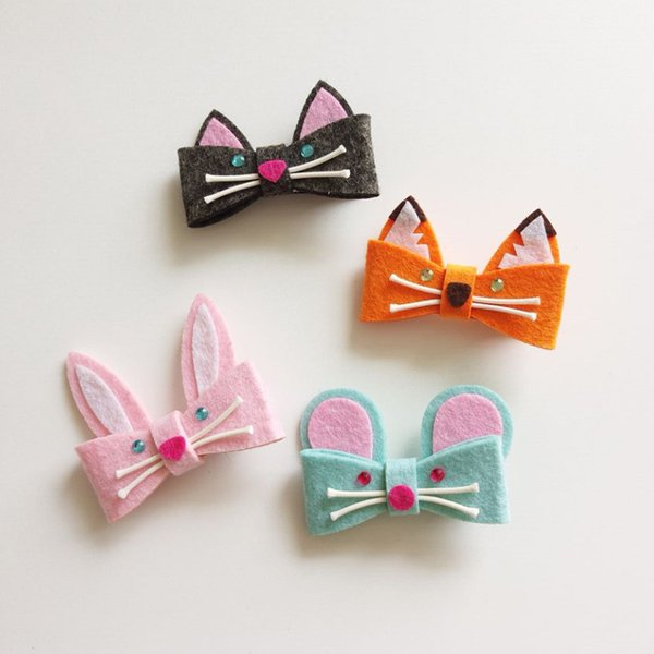 Boutique 20pcs Fashion Glitter Felt Cute Fox Bunny Mouse Cat Baby Girls Hairpins Solid Kawaii Candy Color Cartoon Animal Hair Clips Headware