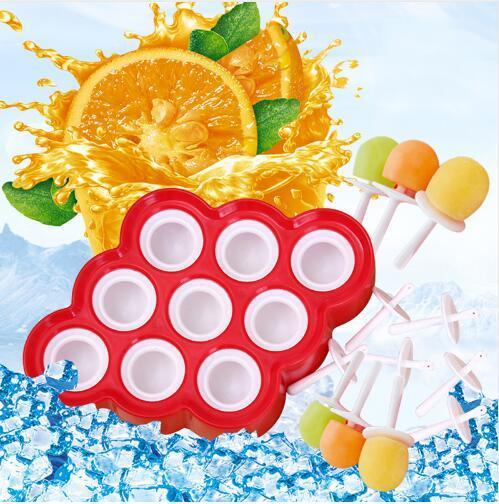 Ghiacciolo stampo in silicone Mini Ice Pops stampo gelato palla Lolly Maker Popsicle stampi con 9 cavità fai da te utensili da cucina scatola di imballaggio