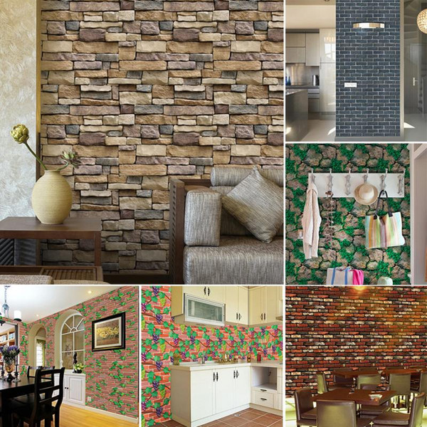 3D Stone Brick Wall Stickers Home Decor Vintage DIY PVC Wallpaper For Living Room Kitchen Self-Adhesive Art Decorative Stickers