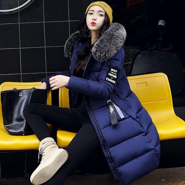 Fashion Large Fur Collar Winter Jacket Women Slim Long Coat Thickening Warm Clothing with A Hood Parka Ladies Plus Size Clothing