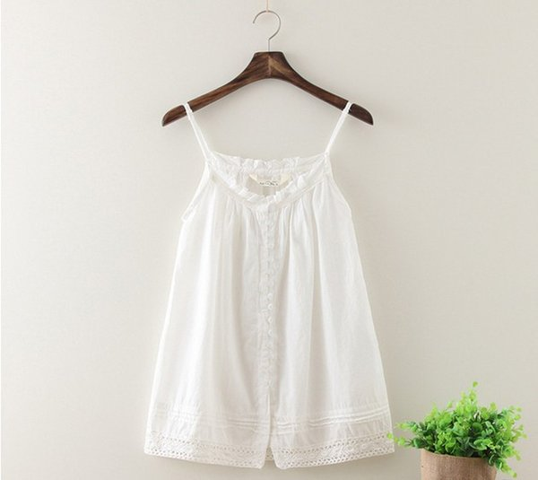 Wholesale-Fashion tank tops fresh art style white sun-top hollow out lace hem nice soft cotton lady camis homies free women clothing
