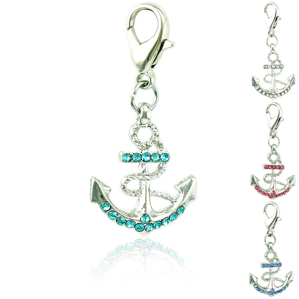 Fashion Floating Charms With Lobster Clasp Dangle Rhinestone Anchor Pendants Findings DIY Charms For Jewelry Making Accessories