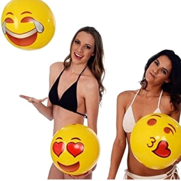 Emoji Beach Ball PVC Inflatable Water Play Ball Toys Adults Kids Swimming Pool Play Fun Toys