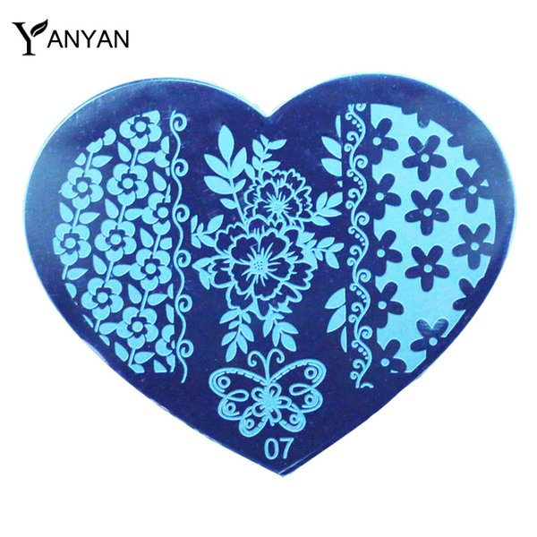 Wholesale- 1pcs New Love Heart Shape Nail Art Image Stamp Plates Flower Butterfly Design Nail Polish Stamping Template