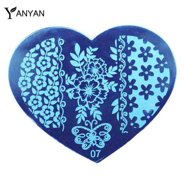 Al por mayor-1pcs Nueva forma del corazón del amor Nail Art Image Placas de sello Flor mariposa diseño polaco de uñas que estampa la plantilla