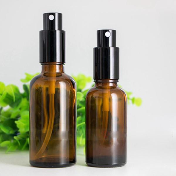 Bottiglietta spray in vetro ambrato da 30ml 50 ml con tappo di nebulizzazione in oro nero per olio cosmetico profumato; Bottiglie di spruzzatore marrone spessa Spedizione gratuita DHL