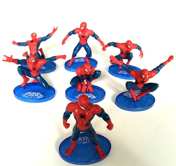The Avengers Spider Man 7 Pz PVC Action Figure da collezione Modello Comics Heroes Spiderman per i bambini Giocattoli regalo 7-11 cm