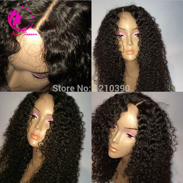 Glueless Full lace Human Hair Wig Curly Unprocessed Virgin Brazilian Deep Curly Wig For Black Woman Natural Hairline Freeship