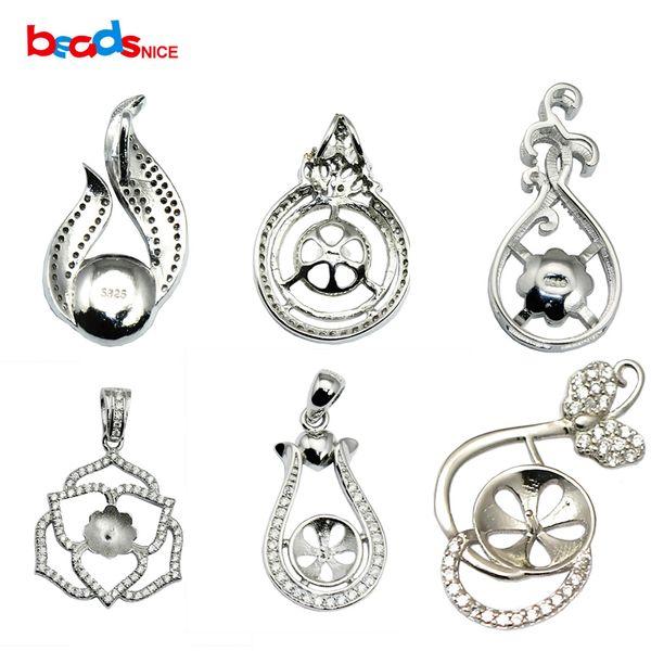 Beadsnice Vintage Pendant Bezels in bianco 925 Sterling Silver Impostazioni tonde per le donne Collana gioielli fascino DIY ID30701