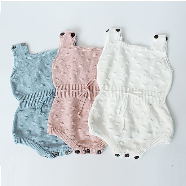 baby rompers infant christmas clothes 2017 autumn knitting ball print bow sleeveless jumpsuit newborn onesie hx
