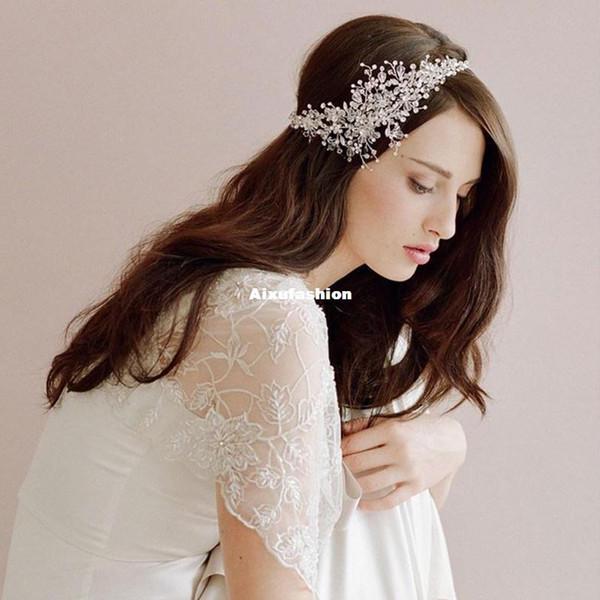 Silver Beaded Flower Tiara Wedding Hair Vine Accessories Crystal Bridal Headband Headwear Women Hair Jewelry Tea Party Cocktail