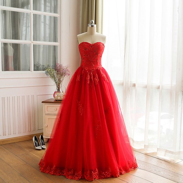 Vintage Lace 2017 Wedding Dresses Beach Sweetheart With Red Tulle Wedding Ball Gowns Cheap Bridal Dresses Plus Size