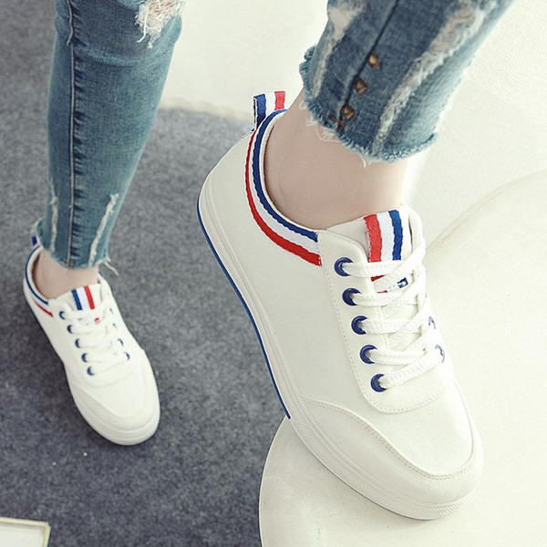 716669e1009 Women New Fashion Summer Shoes Korean Style Flat Shoes Breathable Canvas  Shoes With White Color For Girls Green Shoes Most Comfortable Shoes From ...