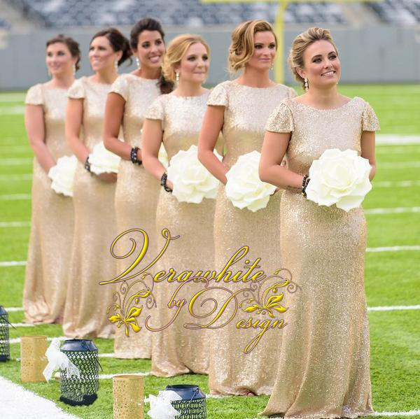 Sexy Gold Sequined Mermaid Bridesmaid Dresses 2017 Bateau Neck Short Sleeves Wedding Party Gowns Cheap Real Images Simple Prom Formal Wear