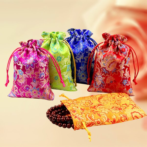 Cheap Thin Floral Small Cloth Bags Drawstring Silk Brocade Jewelry Gift Pouch Candy Tea Favor Bags Spice Package Sachet Coin Storage pocket