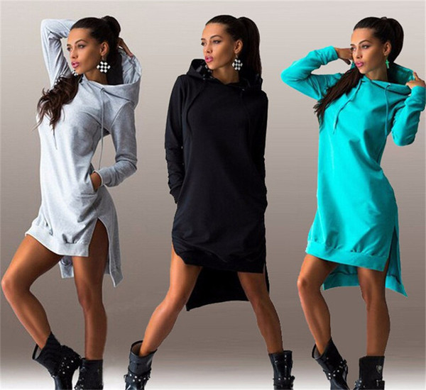 New Vintage Autumn Winter Women Fashion Hooded Dress Sweatshirt Korean Style Long Sleeve Knitted Sweater Dresses Casual Pullover Sport Dress