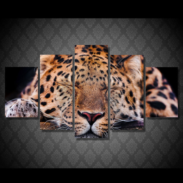 5 Pcs/Set Framed HD Printed Animal Leopard Sleeping Picture Wall Art Canvas Room Decor Poster Canvas Abstract Oil Painting