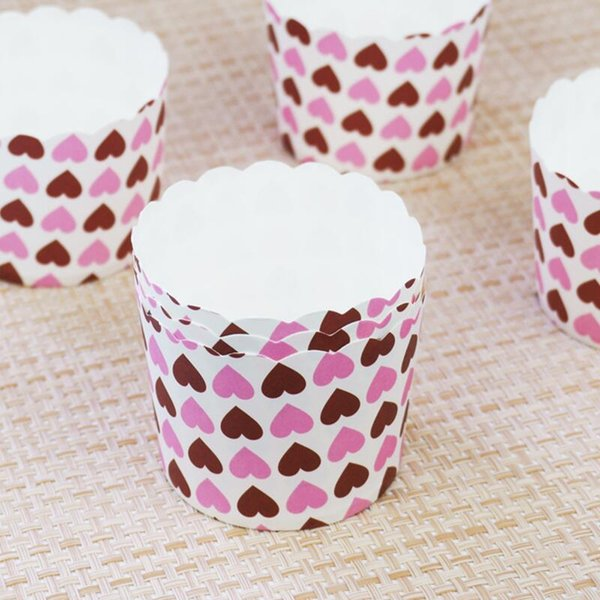 150pcs/Lot Heart Dot Design Cupcake Wrappers High Temperature Muffin Baking Cups Greaseproof Paper Cupcake Liner