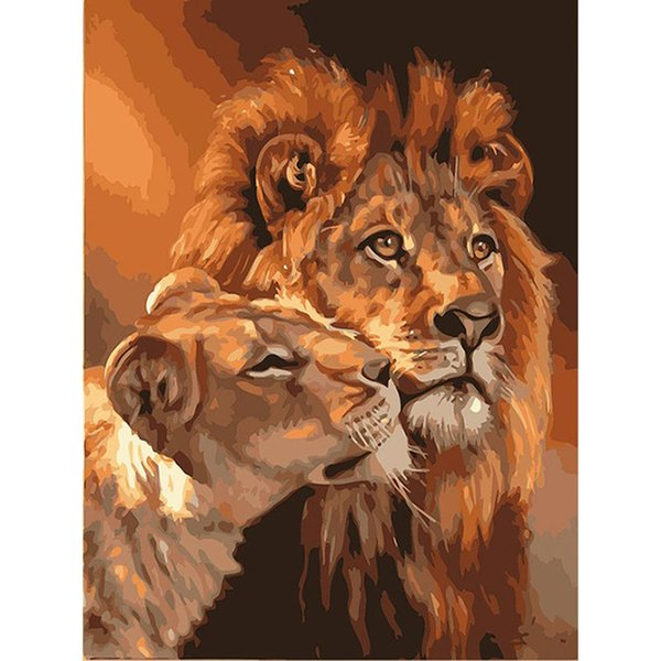 Compre Frameless The Lion Animal Diy Pintura Por Números Kits Para Colorear Pintura Al óleo Sobre Lienzo Dibujo Home Artwork Wall Art Picture A 1207