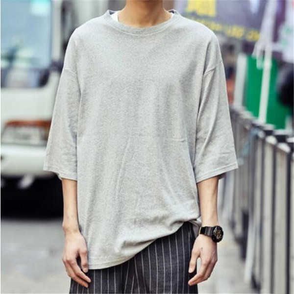 Wholesale- 2016 Spring Summer Basic Cotton Solid Color T shirt Men Hip hop Streetwear Tees Dancing Clothes Fashion Style Camisetas Homme XL