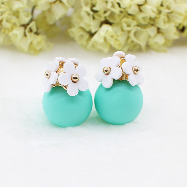 top popular Fashion simulated pearl ball Earrings flower hiphop korea two side Jewelry Double side Stud Earring white statement For Women 2019
