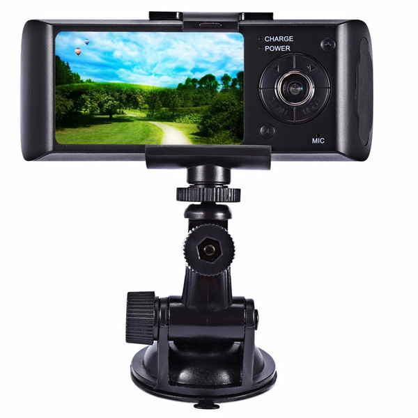 """2017-Dual Camera Car DVR R300 with GPS and 3D G-Sensor 2.7"""" TFT LCD X3000 Cam Video Camcorder Cycle Recording Digital Zoom"""