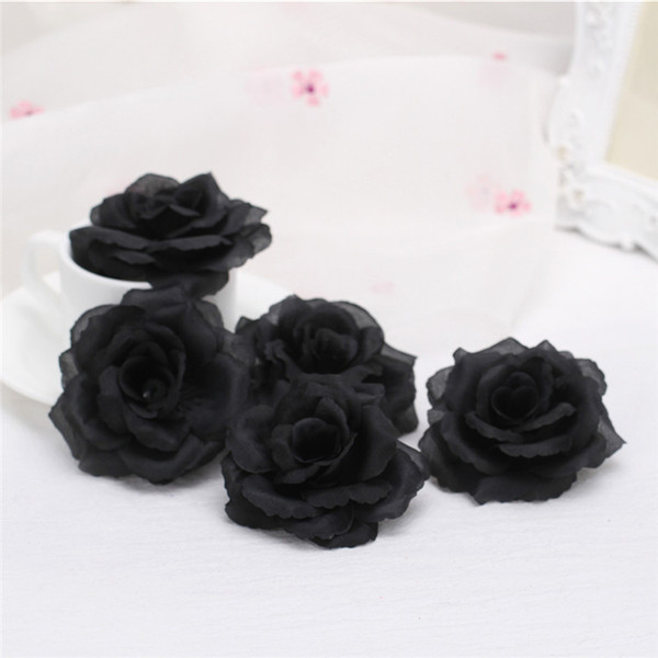 50pcs 8cm Silk Rose Flower Heads Blue Black Rose Bud For Wedding Party Decorative Artificial Simulation Silk Peony Camellia Rose Flower