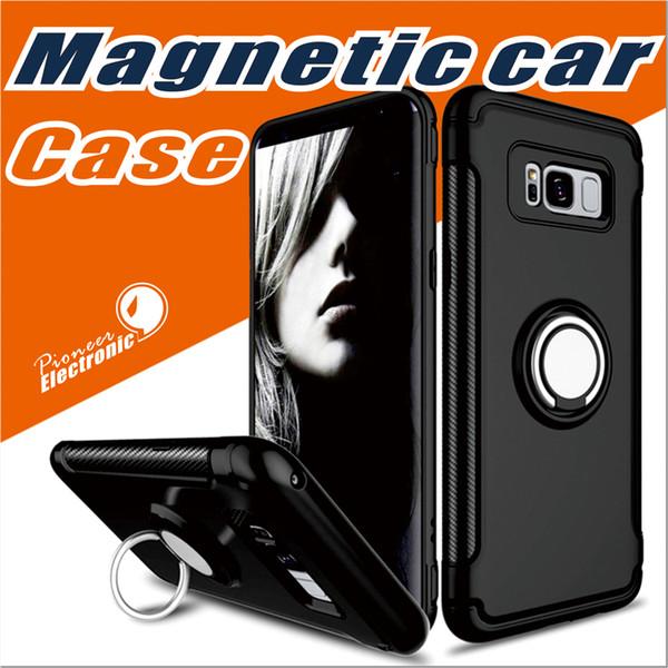 Para samsung s10 s9 iphone x 8 nota 8 celular case mounter dupla camada com suporte de carro de folha de ferro suporte magnético anel armadura phone case