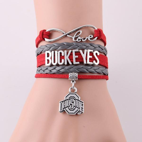 Vente en gros- Infinity Love Ohio State Buckeyes bracelet Équipe sportive NCAA corde bracelets de charme de football bangeles pour femmes hommes bijoux