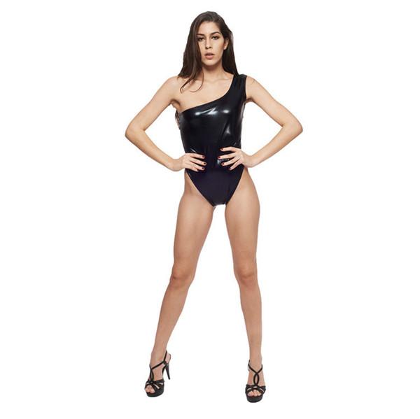 Women Black Faux Leather Catsuit Hot Sexy One Shoulder Short Jumpsuit  Fetish Bandage Bodysuit One Piece Leotard Erotic Clubwear d9601af5e