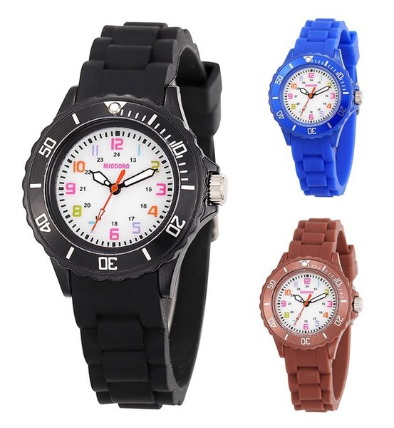 best selling fashion colorful kids boys girls children jelly candy silicone rubber watches 2017 new wholesale gift quartz party watches