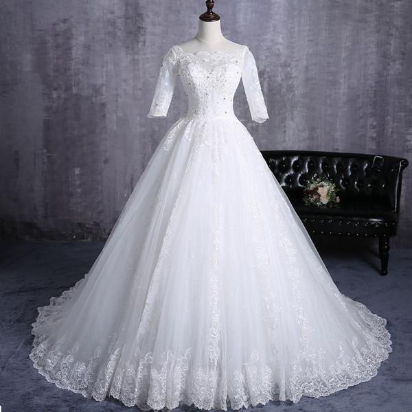 Princess Lace Ball Gown Wedding Dresses With Sleeves Square Neck Appliques Beaded Plus Size Wedding Dress Bridal Gowns Vestido de novia