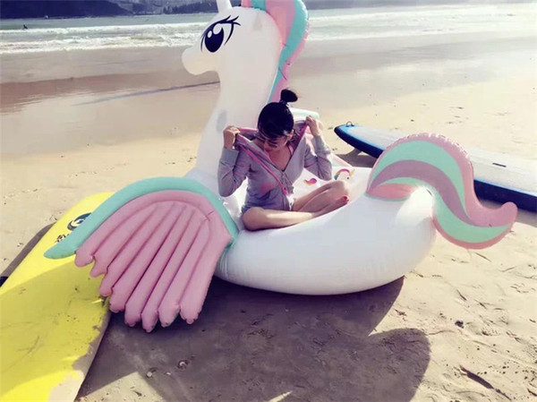 best selling Summer Inflatable Float Swim Ride-On Pool Beach Toys Inflatable Water Swimming Float Raft Air Mattress Giant Rainbow Horse DHL Fedex Ship