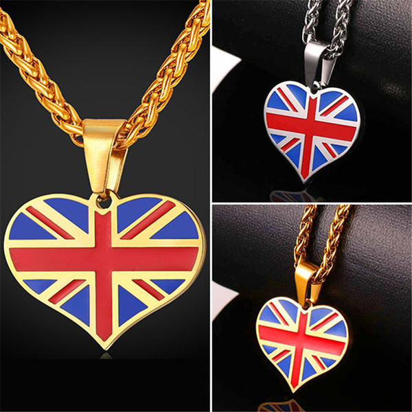 U7 New Hot Square/Heart Shape England National Flag Pendant Necklace Stainless Steel/Gold Plated UK Necklace Women/Men Jewelry Gifts GP2446