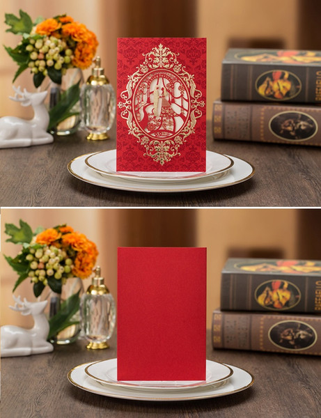 Hot selling Red Customized wedding Invitation letters cards wholesale wed invitation European style in good price via DHL FREE