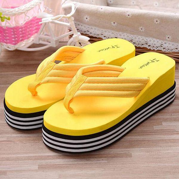 Wholesale-2016 Summer Shoes For Women Stretch Fabric EVA Flip Flops Beach Sandals Casual Wedge Platform Slippers Sandales Talon Femme