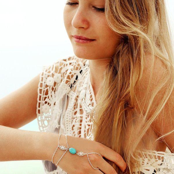 Celebrity Multi Chain Tassel Bracelet Bangle Slave Anillo de dedo arnés de mano para mon novia regalo de cumpleaños