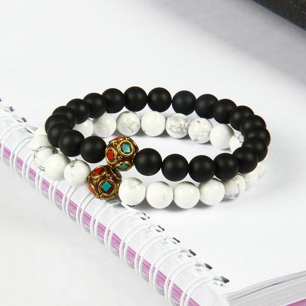 Neuer Entwurfs-Großverkauf-10pcs / lot Mattachat und weiße Marmorstein-tibetanische wulstige Armbänder für Geliebte