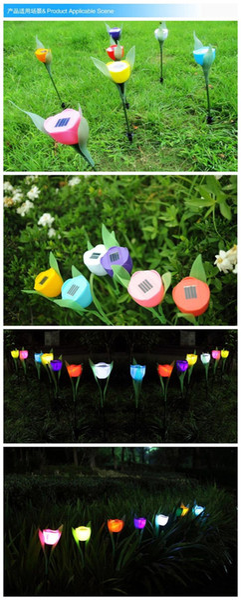 Lámpara de césped solar al aire libre a prueba de agua tulipán rosa luces LED luces festivas luces de Navidad jardín terraza