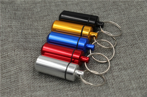 DIY Waterproof Aluminum alloy Pill Box Case Pill Container Bottle Cache medicine Holder Keychain Promotion Gifts Tablet mini pill cases