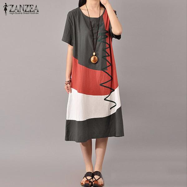 Venda por atacado - ZANZEA Mulheres Vintage Print Dress 2016 Senhoras Verão O Neck Manga Curta Splice Casual Vestido Solto Mid-Calf Vestidos Plus Size