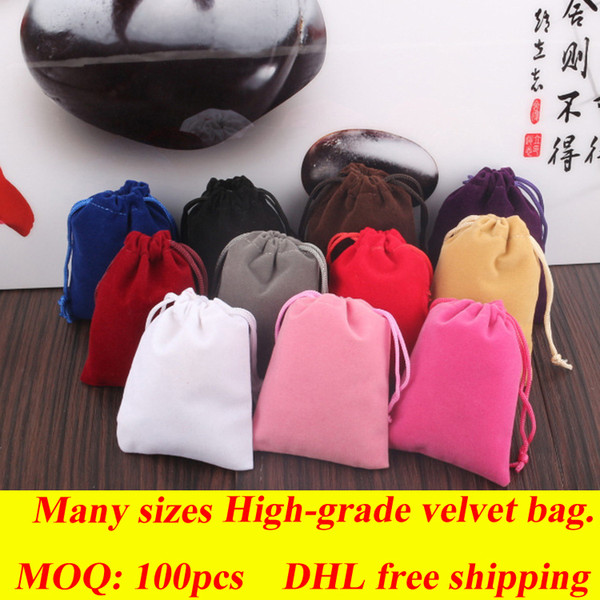 top popular DHL Free Shipping 100pcs Velvet Fidget Spinner Drawstrings Packaging Bags many sizes Jewelry Pouches Necklace Bracelet Earring Gift Bags 2020
