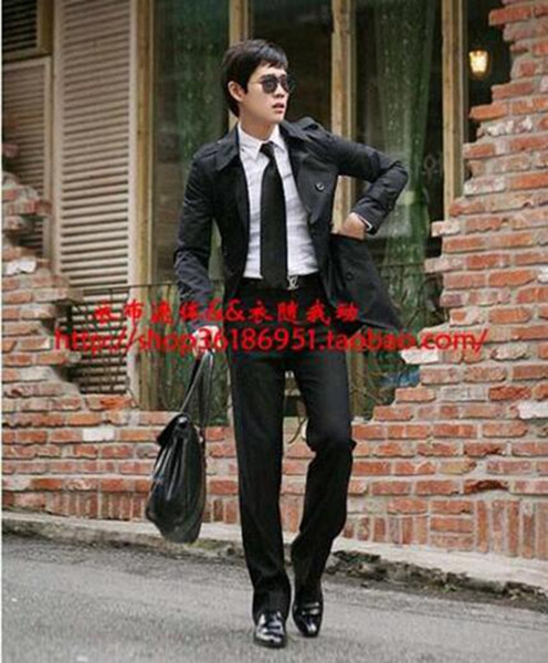 Men in the spring and autumn fashion boutique shoulder belt trench coat of cultivate one's morality of England / S-3XL