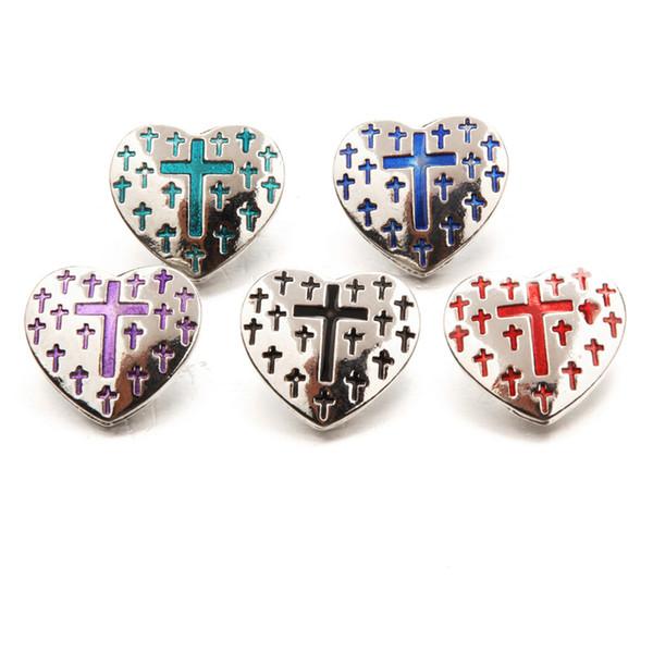 Mix Colors Esmalte Cruz Coração Noosa Pedaços de Metal Gengibre 18mm Snap Botões Para Apreciação Jóias Pulseira