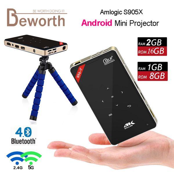 Android DLP + LED Mini Portable Projector 2.4G/5.8G AC Wifi 2GB 16GB 1G/8G H96-P Amlogic S905X Projectors Bluetooth 4K TF USB Home Theater
