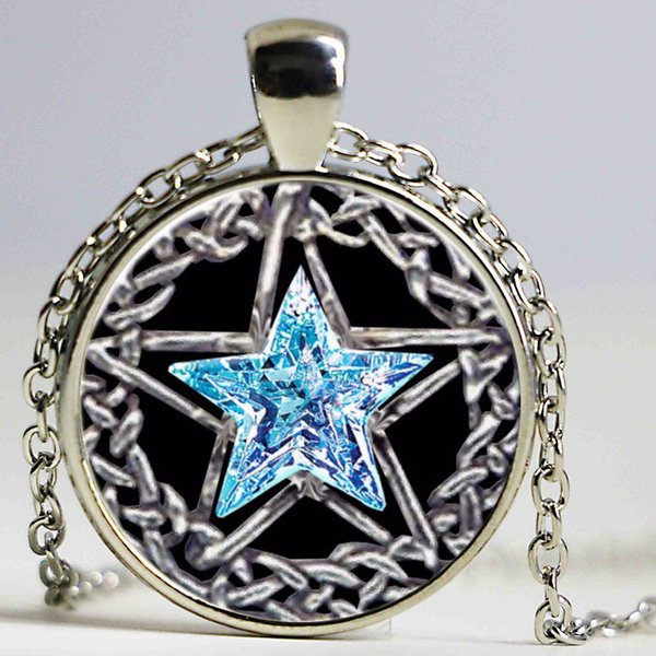 Silver plated necklaces Pentacle Star pattern glass Pendant necklace women men necklace body jewelry online shopping india